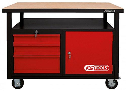 KS Tools 8650101 Werkbank mit 3 Schubladen und 1 Tür, fahrbare