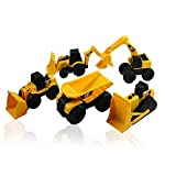 CAT Mini Machine Caterpillar Construction Truck Toy Cars Set of 5, Dump Truck, Bulldozer, Wheel Loader, Excavator and Backhoe Free-Wheeling Vehicles w/Moving Parts -Great Cake Toppers
