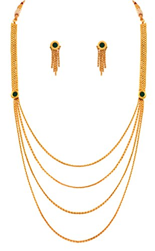 JFL - Traditional Ethnic Multi Strand One Gram Gold Plated Green Designer Necklace Set with Earring for Girls and Women  available at amazon for Rs.398