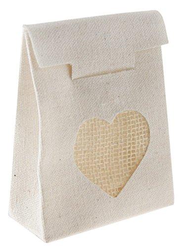 Santex 4907–25, Tüte mit 4Stipendien Baumwolle mit Herzen, natur