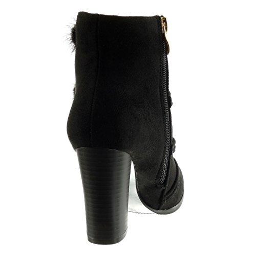 Angkorly Scarpe da Moda Stivaletti - Scarponcini Cavalier Donna Pon Pon Multi-Briglia Tacco a Blocco Tacco Alto 9 cm Nero
