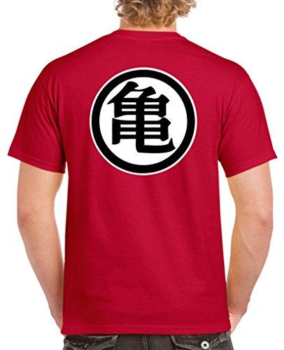 Comedy Shirts - SON GOKU TRIKOT - Dragonball - Herren T-Shirt - Rot / Weiss-Schwarz Gr. M