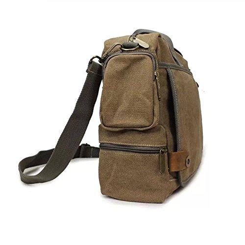 E-Bestar Herren Canvas Handtasche Herren Canvas Tasche Messenger Bag Schultertasche Ideal für Büro Canvas Uni Umhängetasche SLING BAG braun