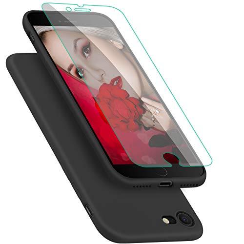 Coque pour iPhone 7 / 8 ProBien,Silicone Ultra Fine Housse avec Verre Trempé Gratuit Case Anti-rayures Protection Complète Cover Mince Léger Étui de iPhone 7 / 8 - Noir