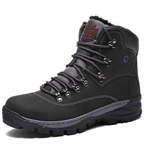 SIX SPACE Herren Winterschuhe Warm Gefütterte Schneestiefel Trekking Wanderschuhe Outdoor Boots Wasserdicht Winterstiefel(Schwarz,46 EU)