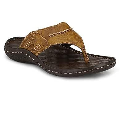 SHENCES MEN'S COMFORTABLE CUSHIONED FOOTBED SANDAL (Colour- TAN, Size- 07)