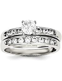ICE CARATS 925 Sterling Silver Cubic Zirconia Cz Band Ring Set Engagement Wedding Fine Jewelry Gift Set For Women Heart