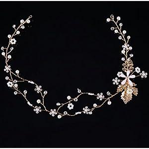 CYY Braut Kopfschmuck Legierung Perle Kristall Hochzeit Schmuck Braut Brautkleid Zubehör