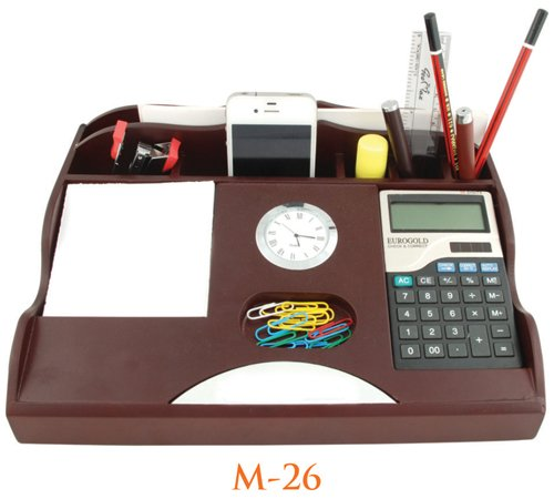 BBPP wooden table top office pen stand with mobile and calculator holder in brown color for corporate gifts
