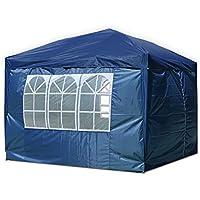 ZanGe - Carpa Plegable (3 x 3 m, Impermeable, con Bolsa de Transporte y Ventana Lateral, para Fiestas, barbacoas, Color Azul)
