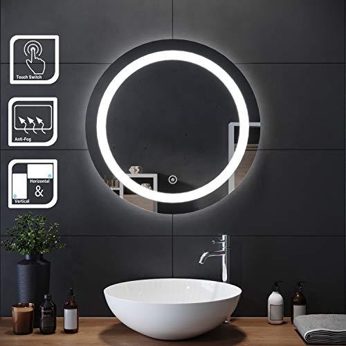 Elegant Espejo de Pared Redondo Impermeable con iluminación LED para baño,...