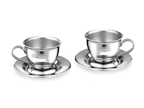 Motta 01512/00s2 4-teiliges Espressotassen-Set mit Unterteller aus Edelstahl