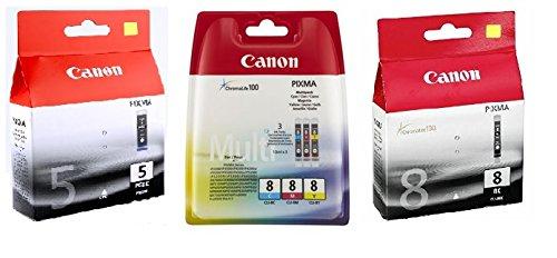 Canon Ersatz-farbe-tinte (Canon Sparset 5 ORIGINAL-Tintenpatronen wie Bild (je 1 x PGI-5bk, CLI-8bk, CLI-8c, CLI-8m, CLI-8y))
