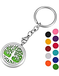 HOUSWEETY Aromatherapy Essential Oil Diffuser Key Chain - Stainless Steel Locket Keychain,11 Refill Pads(Engraving)
