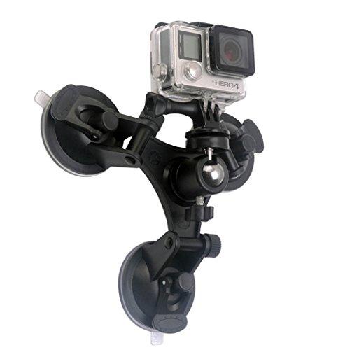 Tping GoPro Sports Kamera-Zubehör Aluminium Saugnapfhalterung Flachwinkel Sichere Auto-Träger 3 Saugnapf-Basis für GoPro hero4 Session Hero 4 3+ 3 2 1 Kamera (Schwarz)