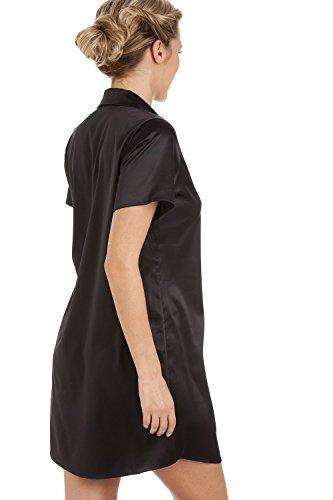 Luxuriöses Satin-Nachthemd - Knielang im Hemd-Stil - Schwarz Schwarz