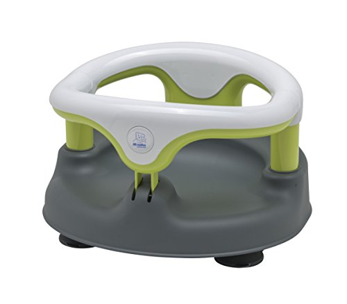 Rotho Babydesign Bath Seat, with Hinged Ring and Child Safety Lock, 7-16 Months, Up to 13 kg, Bpa-Free, 35 x 31.3 x 22 cm, Grey/White/Apple Green