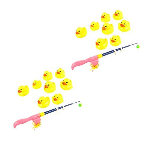 F Fityle 2 Sets Baby Magnetische Enten Tiermodell mit Verstellbare Angelrute Angelnspiel Wasserspielzeug Pool Spielzeug ( 9- teilig/Set )