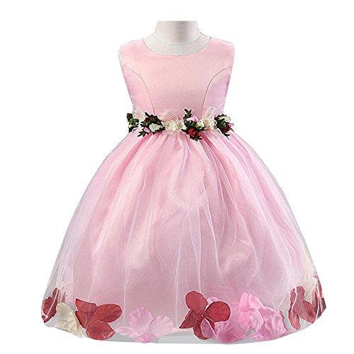 NACHEN Kleid für Mädchen Sommer Blütenblätter Poncho Mädchen Kleid Blume Bogen Prinzessin Kleid , pink , (Billig Kostüme Superhelden Mädchen)