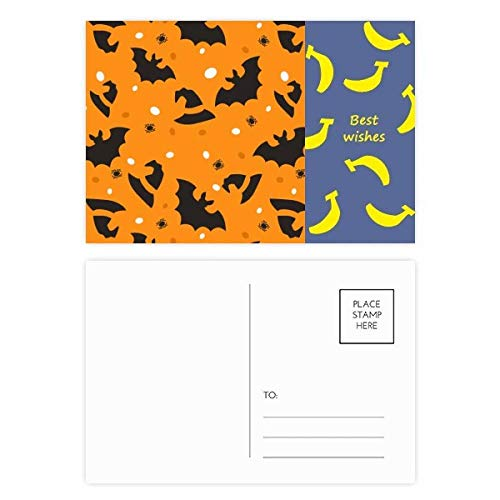 Postkarten-Set Spinne Fledermaus Halloween Hallowmas Banane, 20 Stück