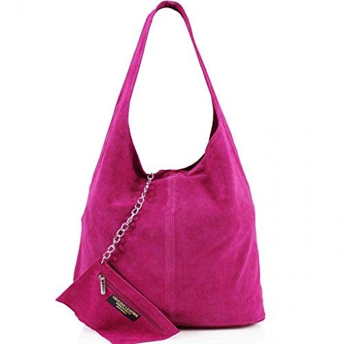 LeahWard Damen Echtes Leder Wildleder Umhängetaschen mit freiem Beutel Tasche große Größe Tasche für Frauen weiches leichtes Gewicht (Orange) Fuchsia