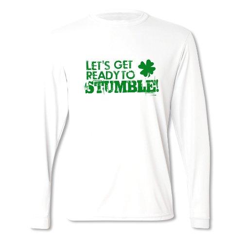 Herren Bereit Zum Stolpern St Patrick's Day Langärmliges T-Shirt Weiß