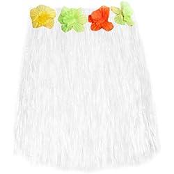 SODIAL(R) Corto hawaiana Hierba Hula Luau falda con flores Disfraz de accesorios (blanco)