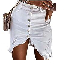 GAGA Women Button Front High Waist Split Mini Bodycon Skirt with Pockets White XS