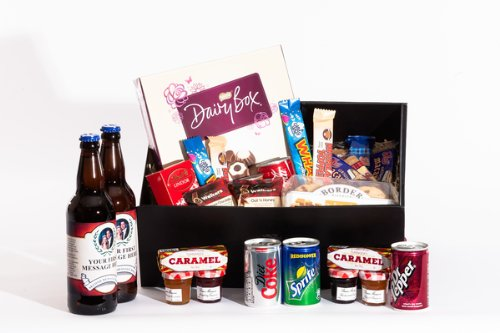 Personalised Sweet Treats and Cider Hamper. Birthday, Anniversary, Engagement, Easter, Mother's day, Father's day, Valentine's day, Wedding or Christmas gift idea