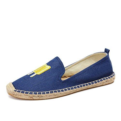 Leinen-loafer (HUAN Damenschuhe Leinen Frühling Sommer Herbst Komfort Loafers & Slip-Ons für Casual (Color : A, Größe : 35))