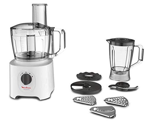Moulinex fp2461 easy force, robot da cucina all-in-one, 6 accessori per 25 diverse funzioni, capacità recipiente 2.4 l