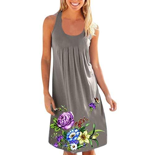 LOPILY Lose Tunika Blusenkleider Damen Sommer Floral Print Plisse Strandkleid Kleider Stretch Falten Blume Gedruckt Sommerkleider Knielang Blusenkleid T-Shirt Kleid(Grau,EU-36/CN-M)