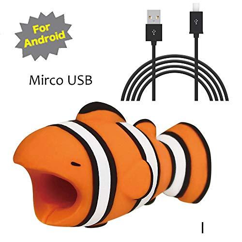 TAOtTAO Mrico USB & Type C Datenzeilenkombination Datenkabel enthalten Kabel-Schnur-Schutz-Schutz-Unterstützung, prevently kreatives nettes Tierkabel-Biss für iPhone Kabel-Schnur-Telefon-Zusatz schützt (I, Mrico USB(Schwarz))