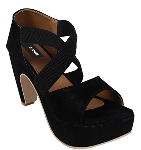 Aroom Women's Black Heel Sandal