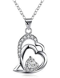 Via Mazzini Silver Plated Crystal Studded Love Heart Pendant For Girls And Women (NK0682)
