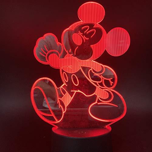 3D Illusion Nachtlicht, Led Tisch Schreibtisch Lampen, Mickey Mouse Nachtlichter, 7 Farben Usb Ladung Beleuchtung Schlafzimmer Dekoration Für Kinder Weihnachten Geburtstagsgeschenk