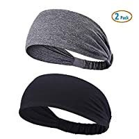 YOUBAMI Sport Athletic Headband for Yoga Running Sports Travel (2 Pack), Elastic Wicking Workout Non Slip Lightweight Multi Headbands Headscarf fits All Men & Women, Black & Gray