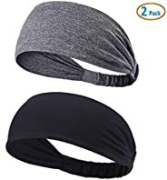 YOUBAMI Sport Athletic Headband for Yoga Running Sports Travel (2 Pack), Elastic Wicking Workout Non Slip Ligh