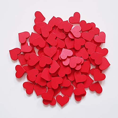 edelkern Holz Streuteile XXL - 200 x rote Herzen (200 x kleine Herz Teile) - Schöne Dekoration (Deko) zum Basteln (DIY)