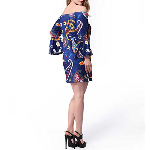 Haodasi Sommer Sexy Mantel Kleider Damen Rock Mehrfarbig Blumen Print Bleistift Beach Party Dress Blue