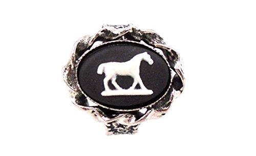 """Preisvergleich Produktbild Wedgwood: Silber straffen schwarz Jasperware Ring """"Pferd w/kurzen Schwanz"""""""