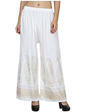 Indian Handicrfats Export Skyline Trading Relaxed Women's White Trousers