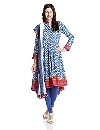 BIBA Women's Cotton Self-Print Anarkali Salwar Suit (66236_Blue_38)
