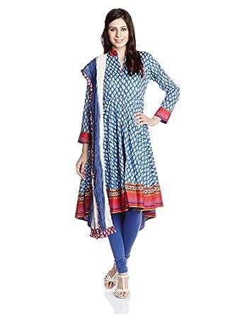 Biba Women's Cotton Self-Print Anarkali Salwar Suit (66236_Blue_38)