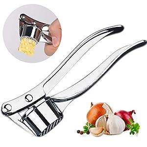 ISKM Knoblauchpresse Garlic Press Knoblauchschneider Zinklegierung Knoblauch Crusher Praktischer Küchenhelfer Spülmaschinenfest Robust