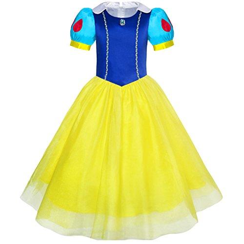 Mädchen Kleid Schnee Weiß Prinzessin Karikatur Meerjungfrau Kostüm Ball Gr. (Schnee Kostüm Mädchen)