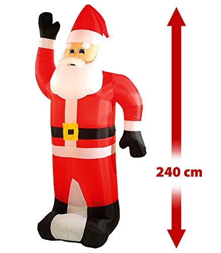 infactory Aufblasbarer Santa Claus: Selbstaufblasender XXL-Weihnachtsmann, 240 cm (Weihnachtsmann aufblasbar)