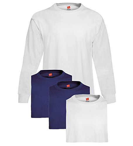 Hanes Mens Tagless ComfortSoft Long-Sleeve T-Shirt 2 White / 2 Navy