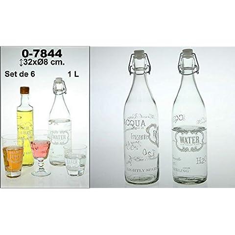 DonRegaloWeb - Set de 6 botellas de cristal y 1l de capacidad decoradas con diferentes logos de agua en color