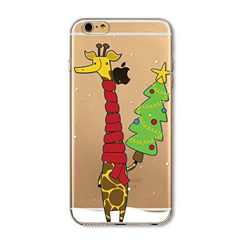 Christmas Hülle iPhone 6 Plus / iPhone 6s Plus LifeePro Weihnachts Cover Ultra dünn Weiches Transparent TPU Gel Silikon Handy Tasche Bumper Case Anti-Scratch Back Cover Full Body Schutzhülle für iPhon Giraffe